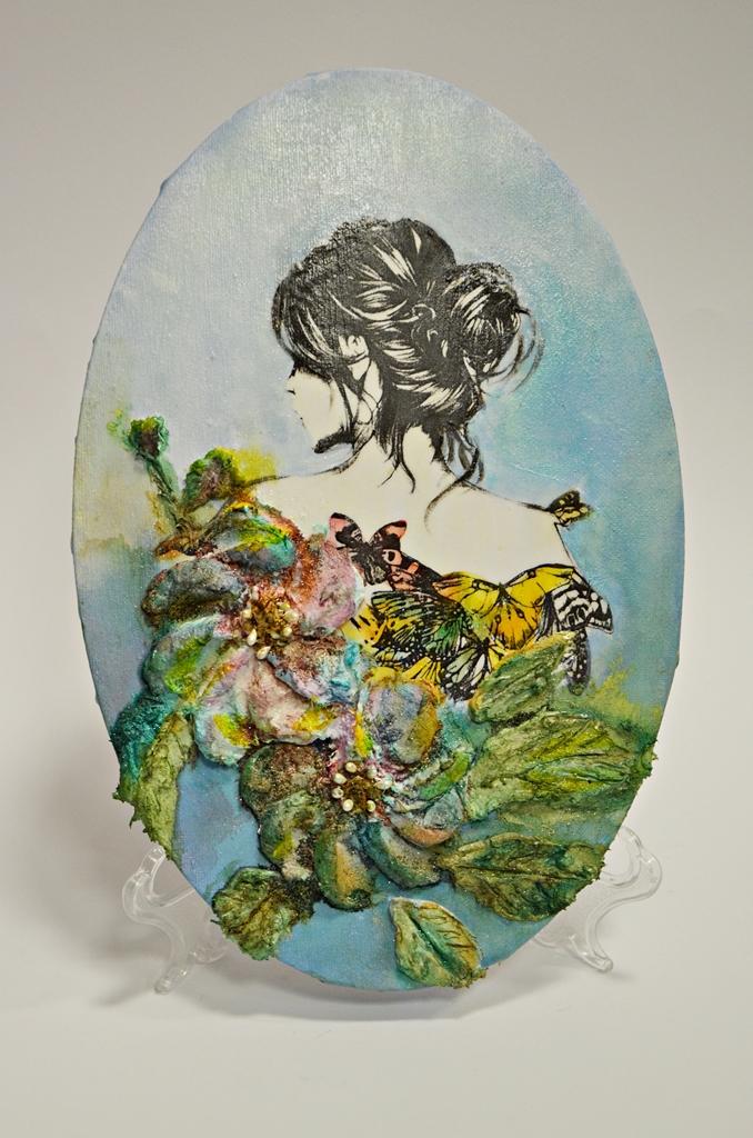arthobbystudio lublin0013warsztaty obraz na dzien matki mixmedia pasta fiber podobrazie owalne