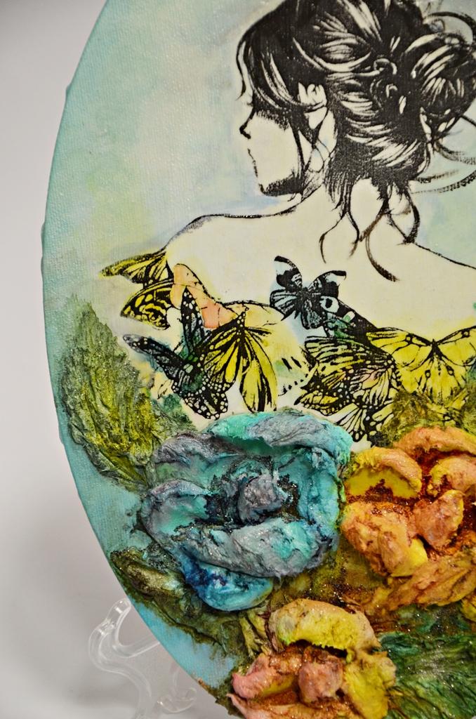 arthobbystudio lublin0015warsztaty obraz na dzien matki mixmedia pasta fiber podobrazie owalne