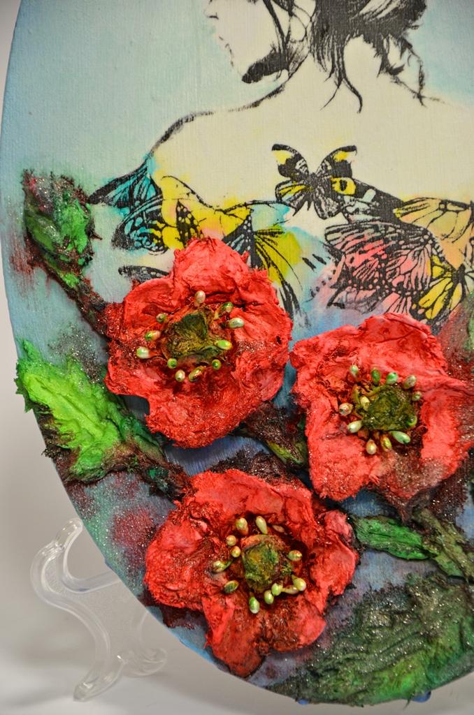 arthobbystudio lublin0018warsztaty obraz na dzien matki mixmedia pasta fiber podobrazie owalne