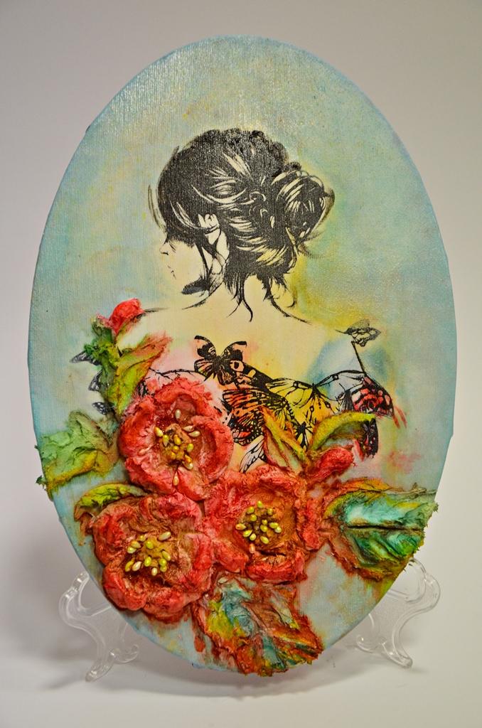 arthobbystudio lublin0021warsztaty obraz na dzien matki mixmedia pasta fiber podobrazie owalne