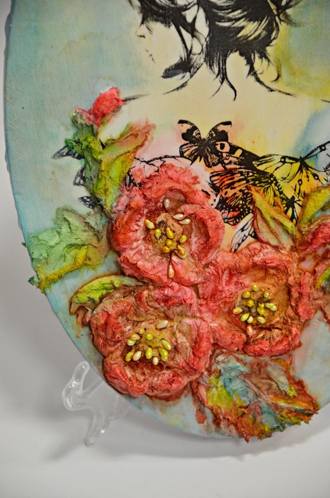 arthobbystudio lublin0022warsztaty obraz na dzien matki mixmedia pasta fiber podobrazie owalne