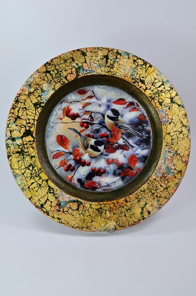 zimowa patera mixmediowa warsztaty Art Hobby Studio 2