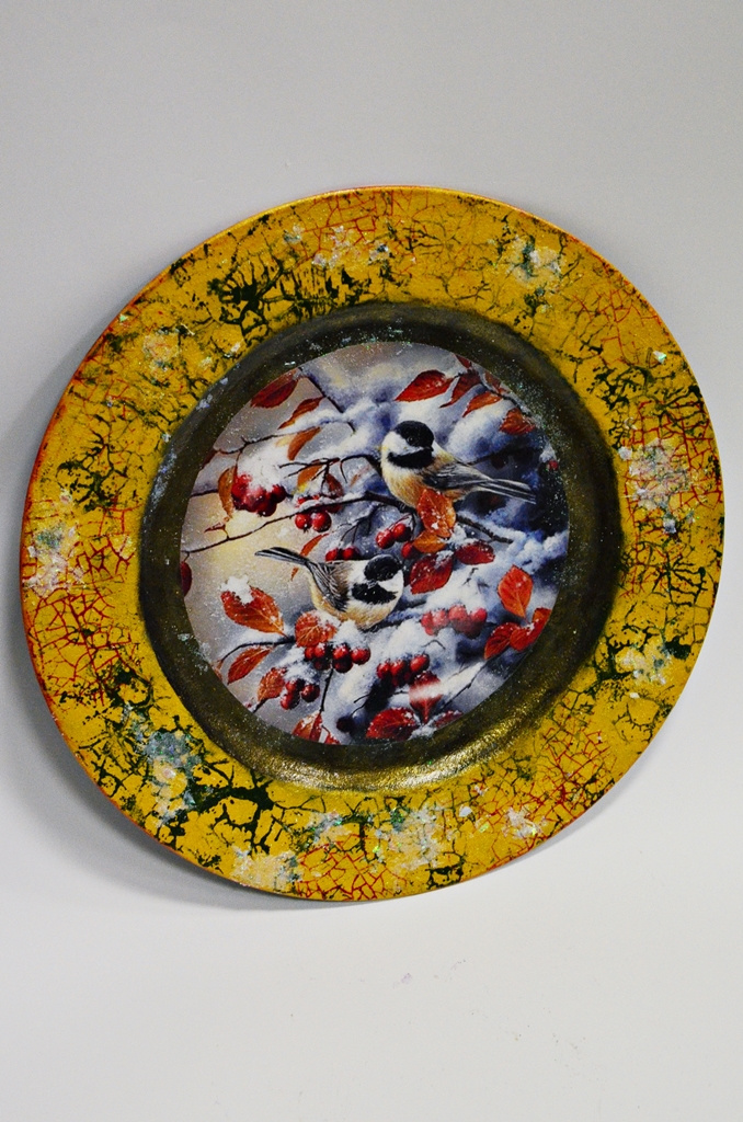 arthobbystudio lublin0009warsztaty swieta ozdoby dekoracje decoupage mixmedia cracle spekania patera zimowa