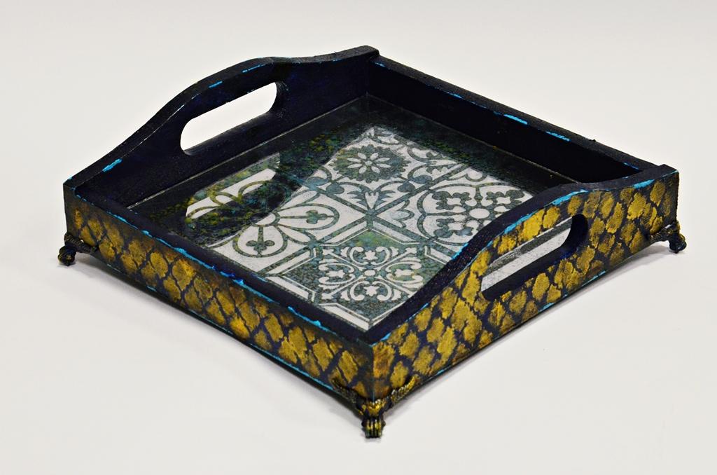 arthobbystudio lublin0011warsztaty taca mixmedia decoupage taca marokanska mozaika 1