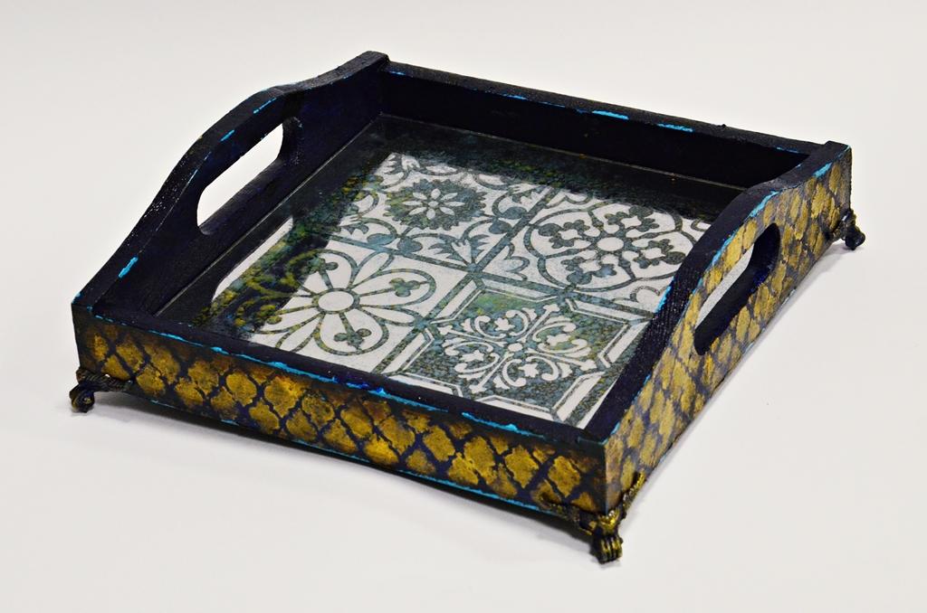 arthobbystudio lublin0012warsztaty taca mixmedia decoupage taca marokanska mozaika 1