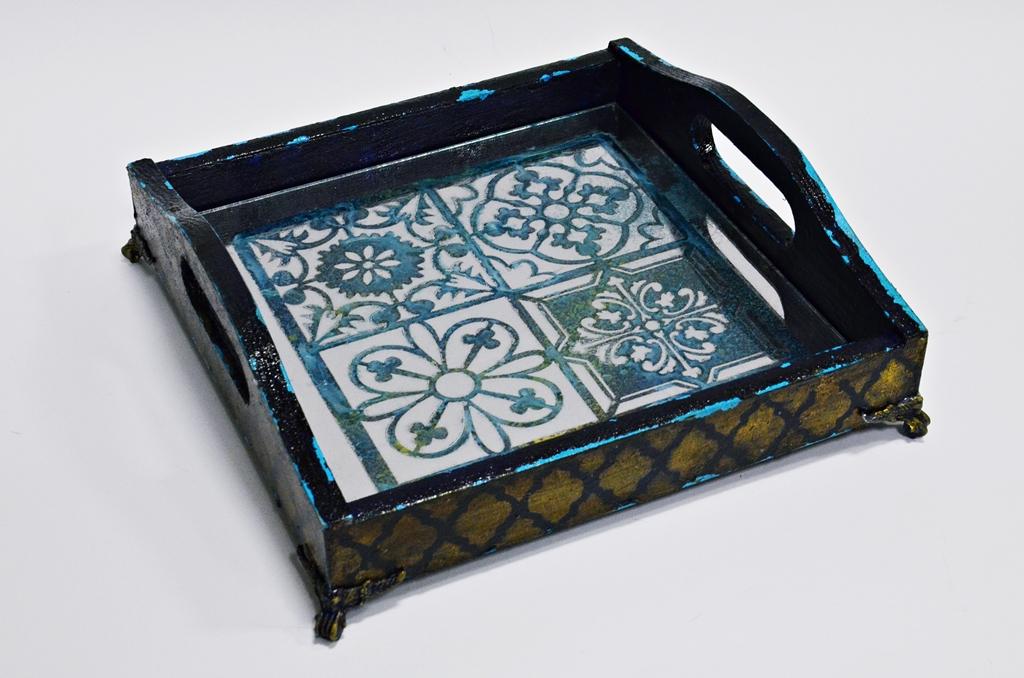 arthobbystudio lublin0018warsztaty taca mixmedia decoupage taca marokanska mozaika 1