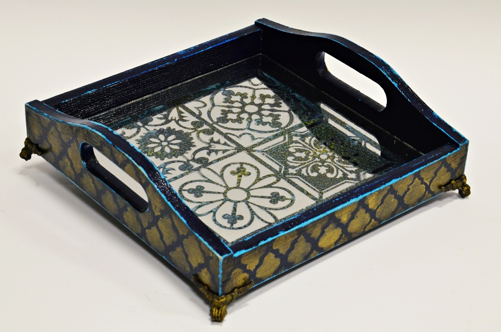 arthobbystudio lublin0034warsztaty taca mixmedia decoupage taca marokanska mozaika