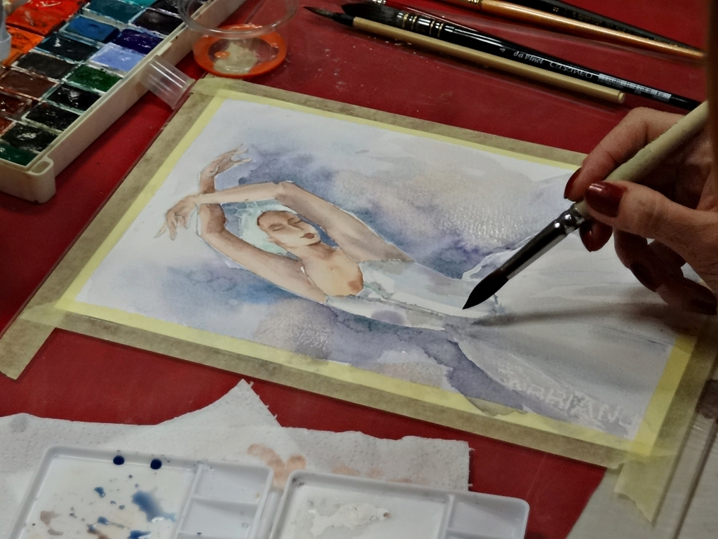 arthobbystudio lublin0013warsztaty akwarela akwarele farby akwarelowe malarstwo baletnica