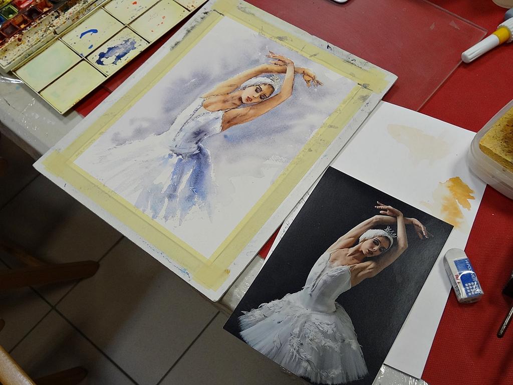 arthobbystudio lublin0016warsztaty akwarela akwarele farby akwarelowe malarstwo baletnica