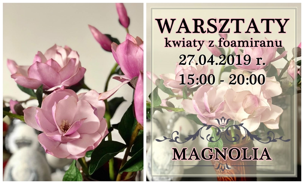 magnolia foamiran warsztaty kwiaty arthobbystudio blog