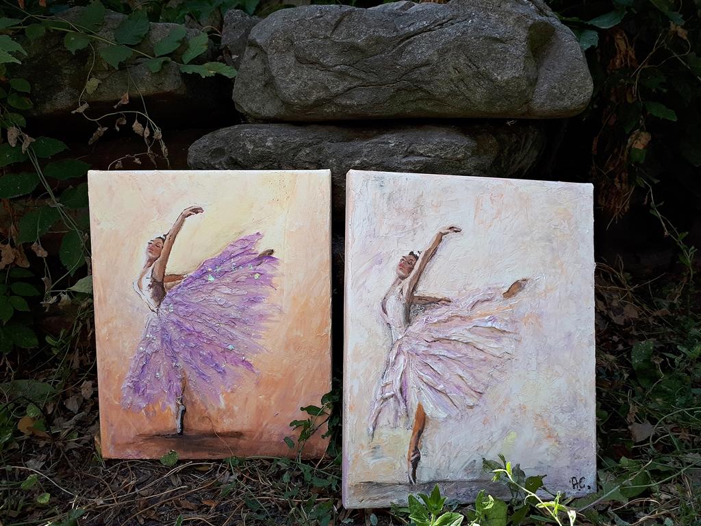 arthobbystudio lublin0021warsztaty obraz na plotnie baletnica malarstwo szpachelkowe cieniowania