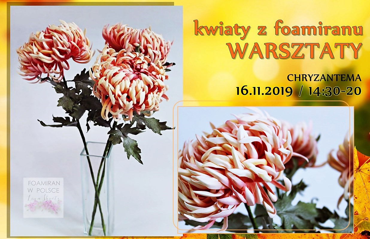 chryzantema kwiaty z foamranu warsztaty lublin arthobbystudio