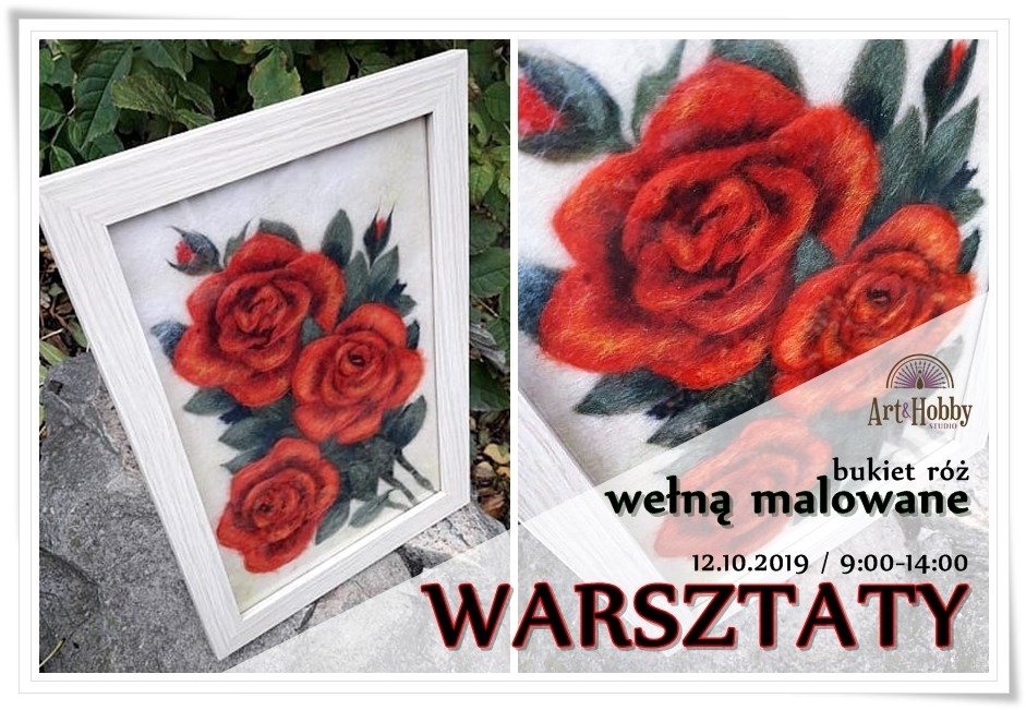 plakat warsztaty welna malowane bukiet roz arthobbystudio lublin