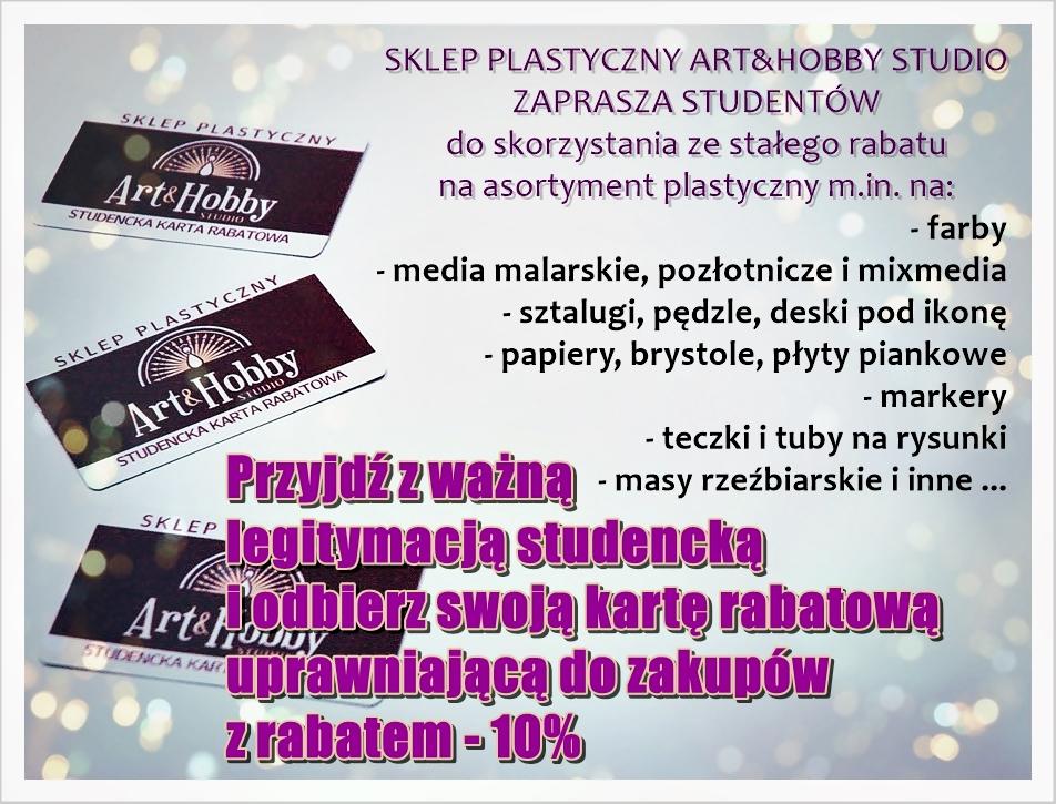 plakat sklep plastyczny karta rabatowa studencka 2