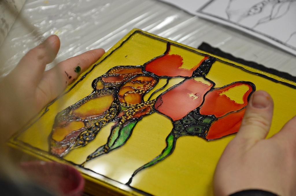warsztaty004 20200110witrazowe wyzlocone tuszami malowane pudelko