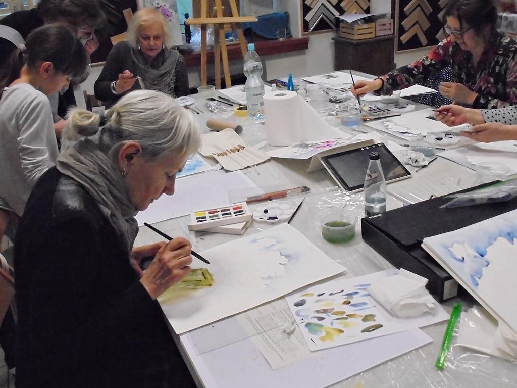 warsztatyDSC04843akwarela akwarelowe malarstwo tatiana majewska arthobbystudio kwiaty