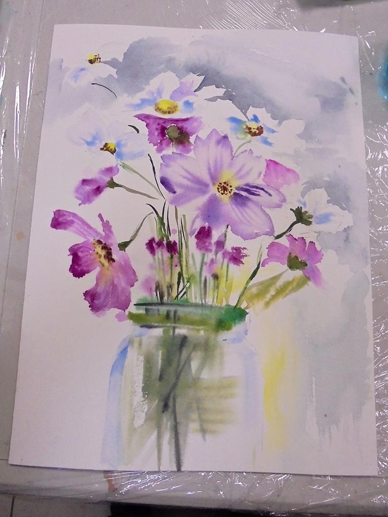 warsztatyDSC04847akwarela akwarelowe malarstwo tatiana majewska arthobbystudio kwiaty