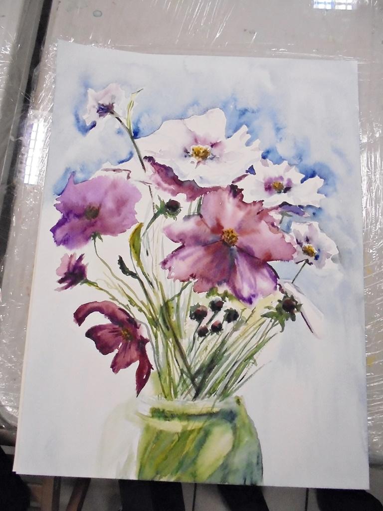warsztatyDSC04849akwarela akwarelowe malarstwo tatiana majewska arthobbystudio kwiaty