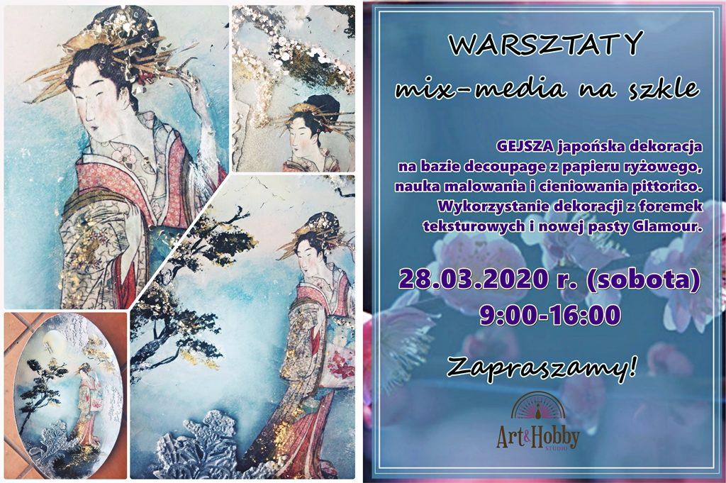 plakat arthobbystudio lublin warsztaty woskowiak beata gejsza na szkle 2 1024x681